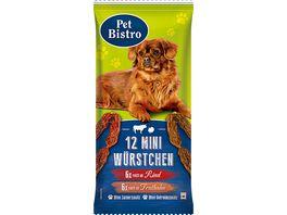 Pet Bistro Hundesnack 12 Mini Wuerstchen fuer Hunde 6x reich an Rind 6x reich an Truthahn