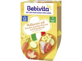 Bebivita Menues ab dem 12 Monat Makkaroni auf Tomaten Zucchini Gemuese und Putenfleisch