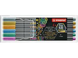 STABILO Premium Metallic Filzstift STABILO Pen 68 metallic 6er Pack mit 6 verschiedenen Metallic Farben