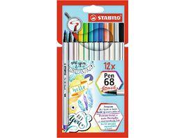 STABILO Premium Filzstift mit Pinselspitze fuer variable Strichstaerken STABILO Pen 68 brush 12er Pack mit 12 verschiedenen Farben