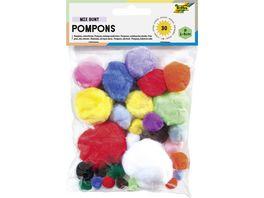 folia Pompons in verschiedenen Groessen 30 Stueck farblich sortiert