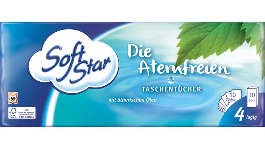 Softstar Taschentuecher Atemfrei 10x10 4 Lagig