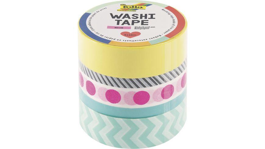 folia Washi Tape 5er Set neon pink