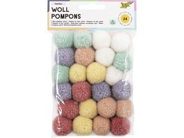 folia Woll Pompoms pastell 24 Stueck