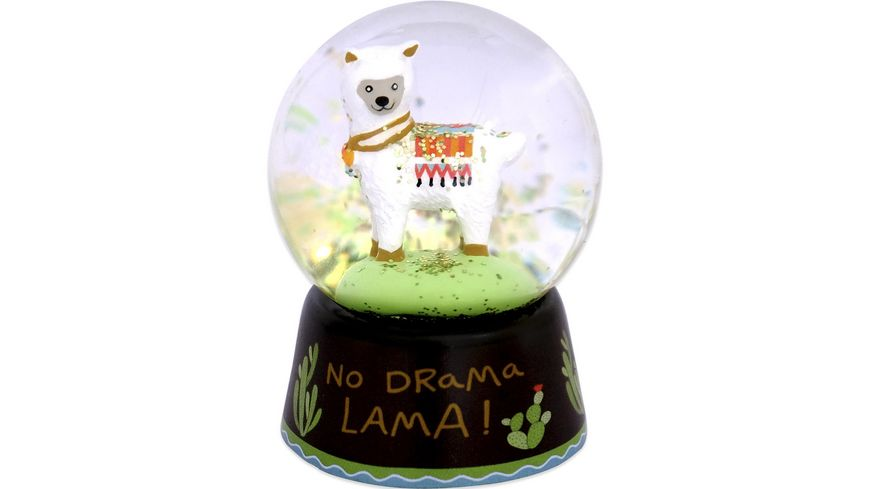 Happy Life Traumkugel aus Glas mit Lama Motiv No Drama Lama 45549