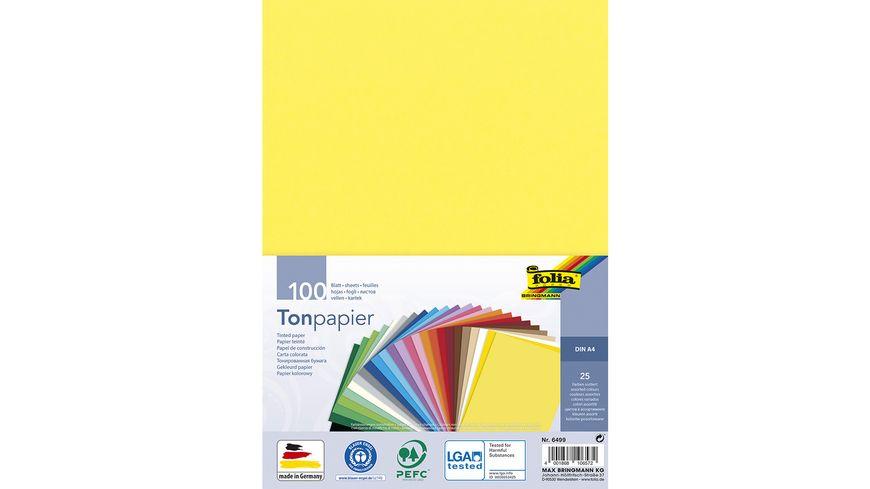 folia Tonpapier A4 100 Blatt farblich sortiert