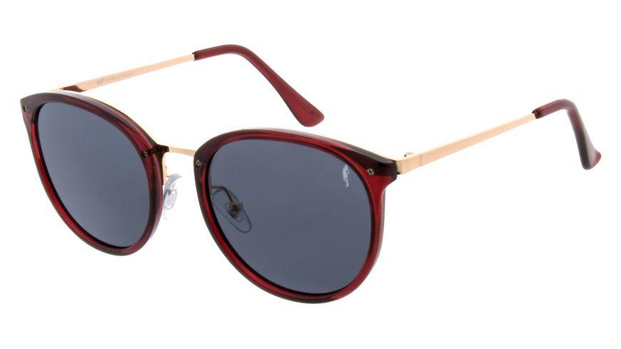 GNTM Sonnenbrille rot mit goldenen Buegeln