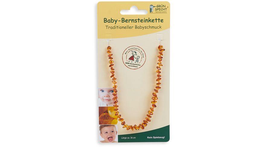 Grünspecht Baby-Bernsteinkette, Flachbarock, sortiert