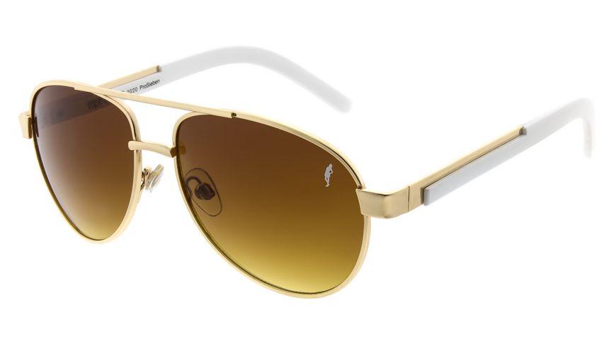 GNTM Sonnenbrille gold mit weissen Buegeln
