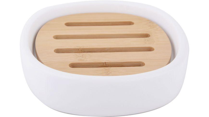 Seifenschale Weißkeramik mit Holz