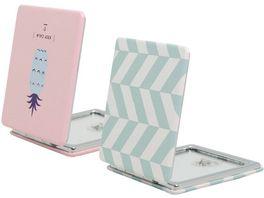 Soapland Taschenspiegel Lederoptik mit Trendmotiven 7x7 5x1cm 1x 2x Vergroesserung