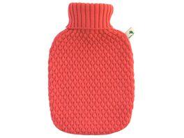 Hugo Frosch Waermflasche mit Strickbezug Koralle