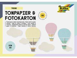 folia Tonpapier und Fotokarton Block TREND DIN A6 60 Blatt 15 Farben sortiert
