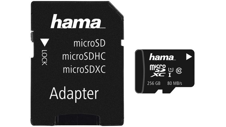 Hama microSDXC 256GB Class 10 UHS I 80MB s Adapter Mobile