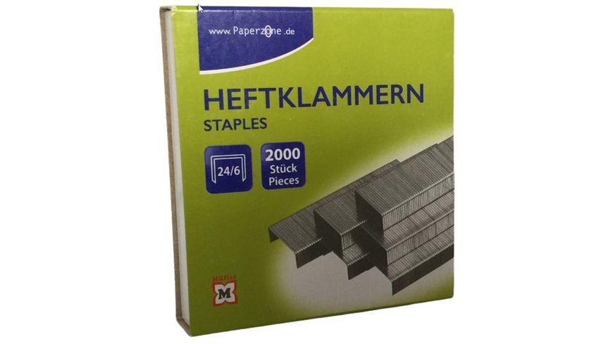 PAPERZONE Heftklammern 24/6 2000 Stück