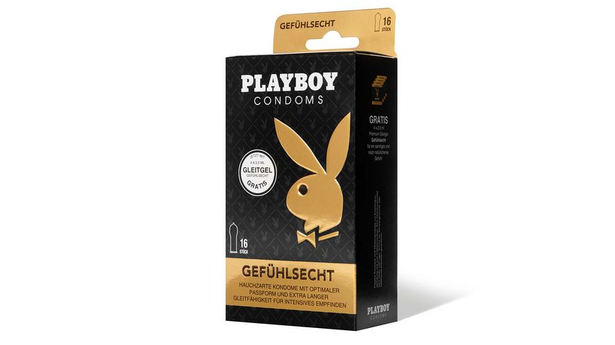 PLAYBOY CONDOMS GEFUeHLSECHT Kondome mit 4 Gleitgel Sachets