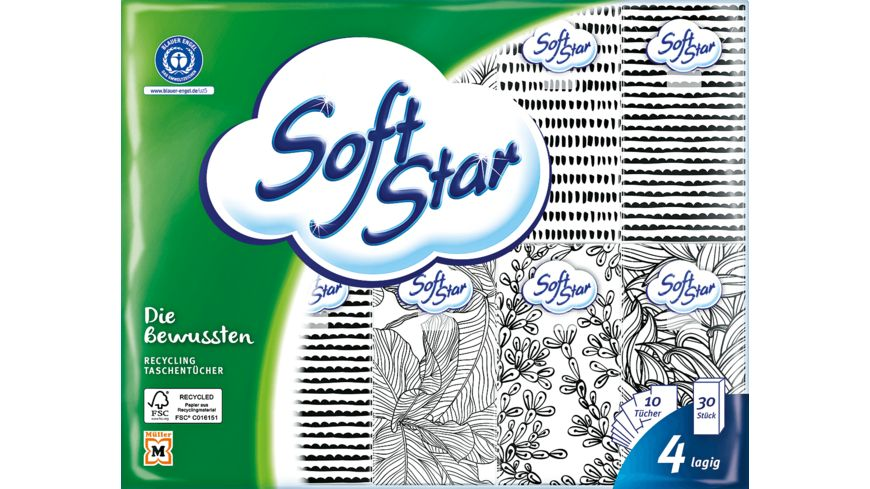 Softstar Recycling-Taschentücher, 4-lagig
