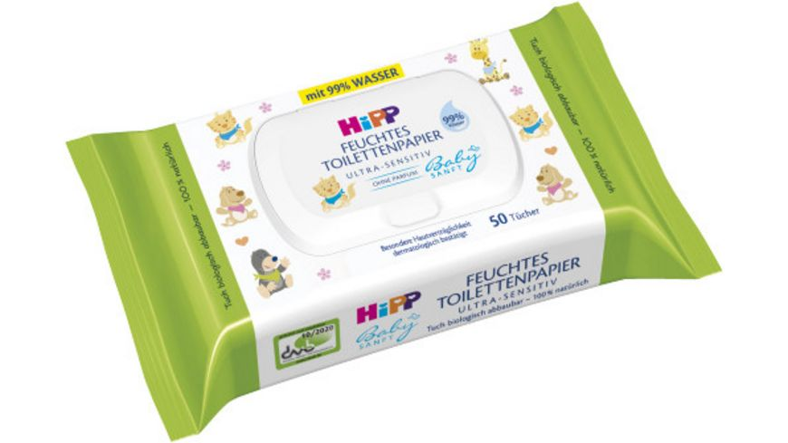 HiPP Baby Sanft, feuchtes Toilettenpapier Ultra-Sensitiv, 50 Tücher