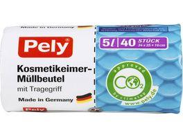Pely Kosmetikeimer Muellbeutel mit Tragegriff 5 Liter 40 Stueck