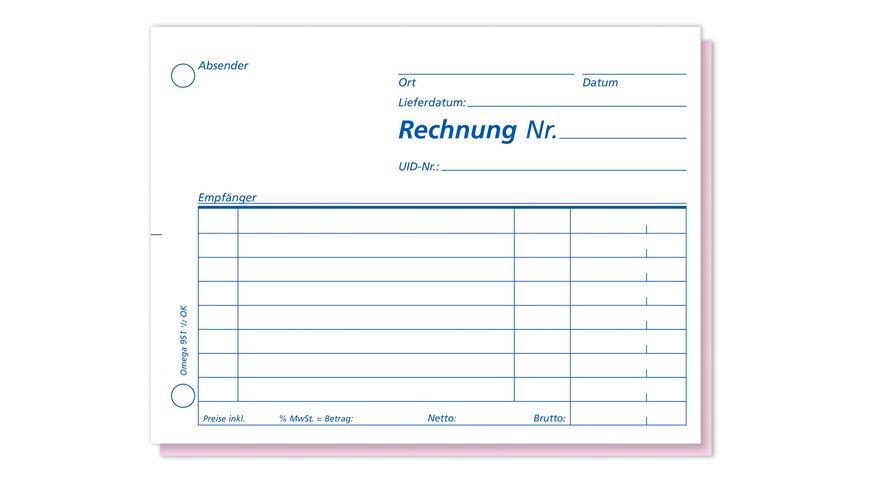 OMEGA Rechnungsbuch 951 1 2 OK A6 quer 2x50 Blatt SD