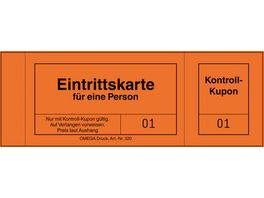 OMEGA Eintrittskarten 320 6 14x5cm 1x100 Blatt orange