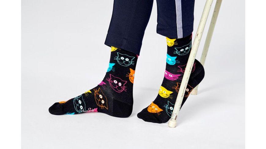 Happy Socks Unisex Socken Cat schwarz