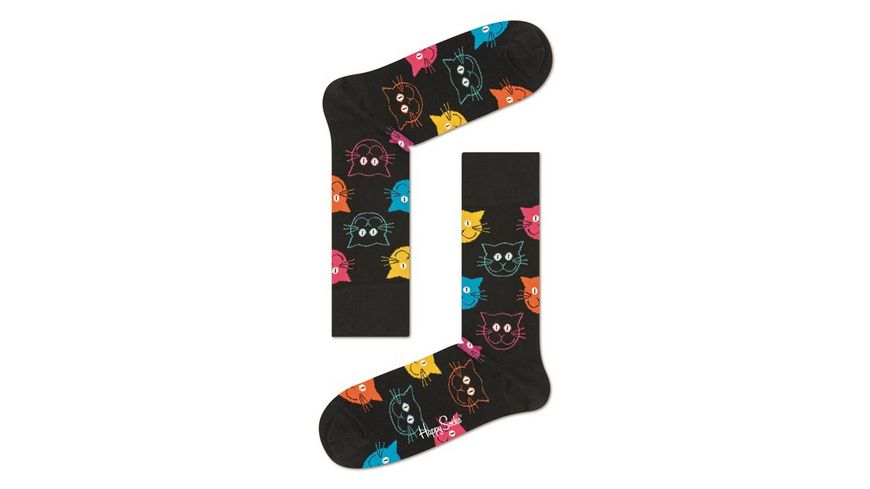 Happy Socks Socke Cat schwarz Unisex