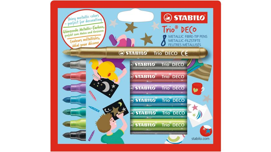 STABILO Trio DECO Metallic Filzstifte 8er Pack