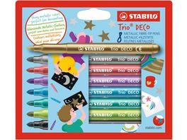 STABILO Metallic Filzstift mit robuster XL Spitze STABILO Trio DECO 8er Pack mit 8 verschiedenen Farben