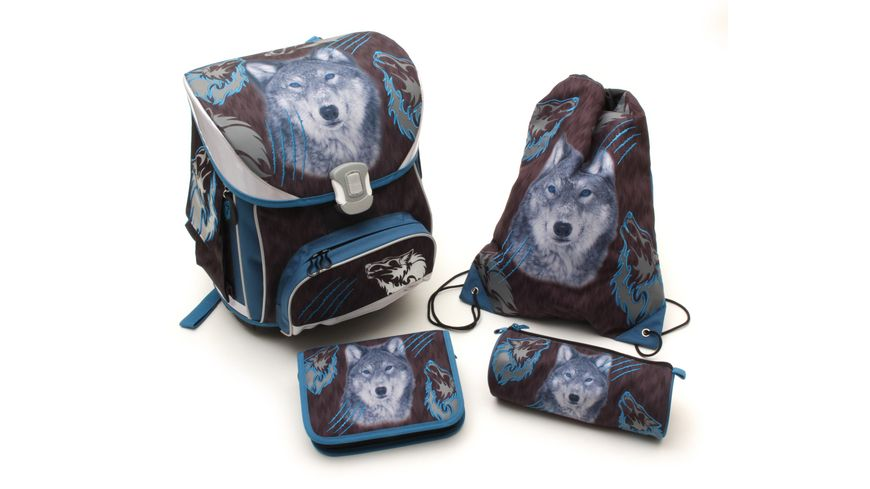 in school Basic Schulranzen Set 5teilig Wolf