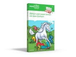 miniLUeK Sets miniLUeK Set Kasten Uebungsheft e Vorschule 1 Klasse Mathematik Deutsch Zaehlen und lesen lernen mit dem Einhorn