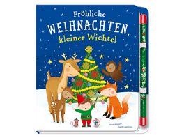 Froehliche Weihnachten kleiner Wichtel Pappbilderbuch mit Zauberstab fuer Kinder ab 3 Jahren