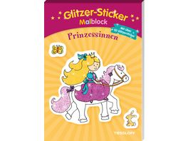 Glitzer Sticker Malblock Prinzessinnen Mit 50 glitzernden Stickern