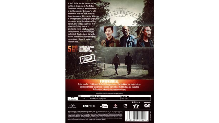 Fear The Walking Dead Staffel 5 Uncut 4 DVDs Bonus DVD