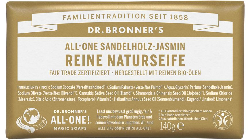DR. BRONNER'S reine Naturseife Sandelholz-Jasmin 140 g