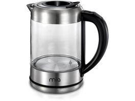 Mia Edelstahl Glas Wasserkocher mit Temperaturwahl