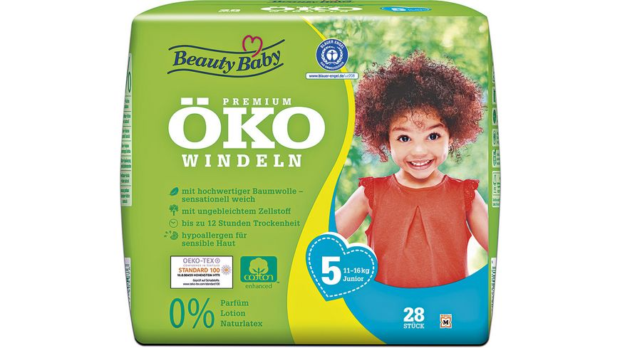 Beauty Baby Premium Oeko Windeln Groesse 5 Junior 11 16 kg