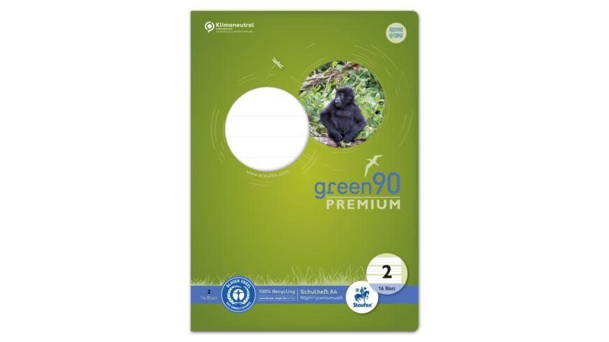Ursus Green Premium Heft A4 16 Blatt Lineatur 2 farbig