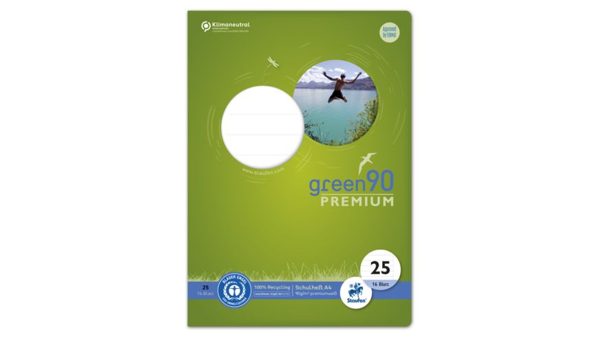 Ursus Green Premium Heft A4 16 Blatt Lineatur 25 liniert mit Rand