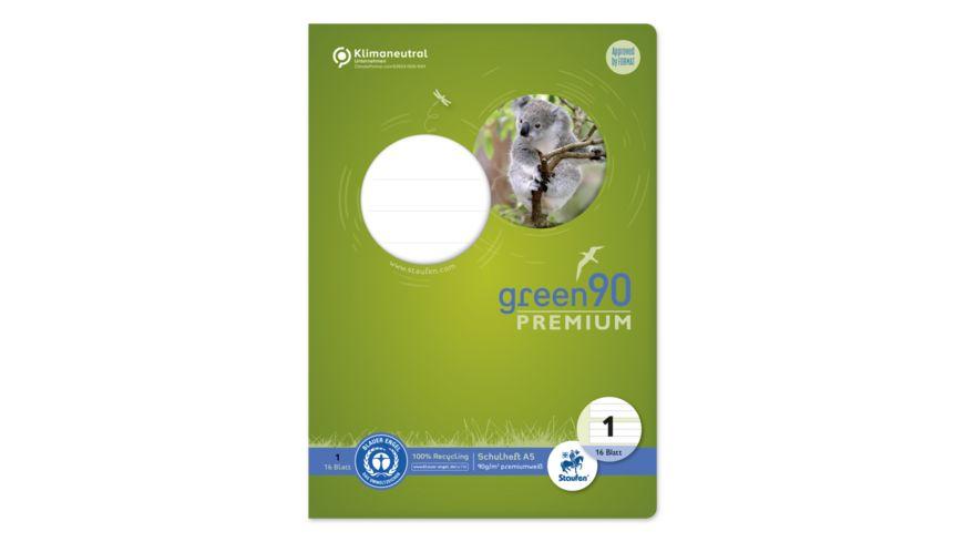 Ursus Green Premium Heft A5 16 Blatt Lineatur 1 farbig
