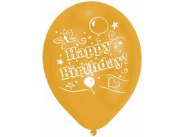Amscan 8 Latex Ballons Happy Birthday 2 Seiten bedruckt 25 4 cm