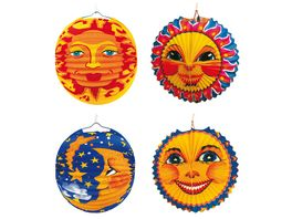 Amscan Laterne Sonne Mond Papier mit Flammschutzmittel 25 cm 1 Stueck sortiert