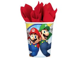 Amscan 8 Pappbecher Super Mario Bros 266ml