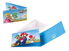 Amscan 8 Einladungskarten Super Mario Bros 7 9 x 14 1 cm