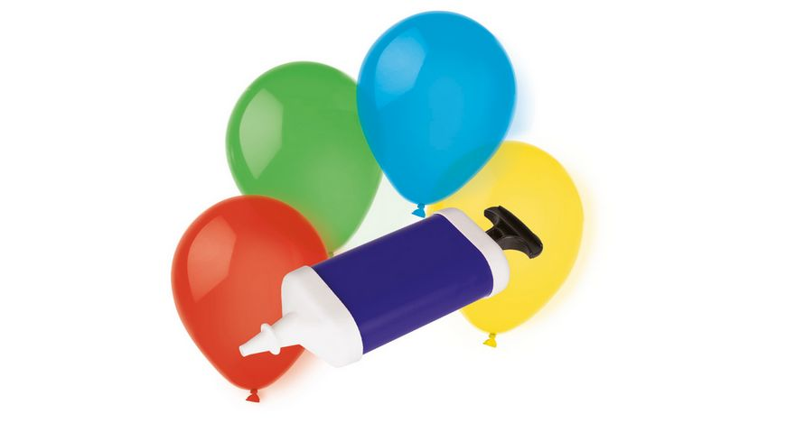 Amscan 10 Latex Ballons mit Pumpe farblich sortiert