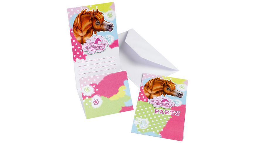 Amscan 6 Einladungskarten Papier Charming Horses 8 x 14 2 cm