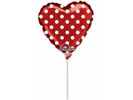 Amscan Folienballon Mini Shape Herz POLKA DOTS 22 8 cm