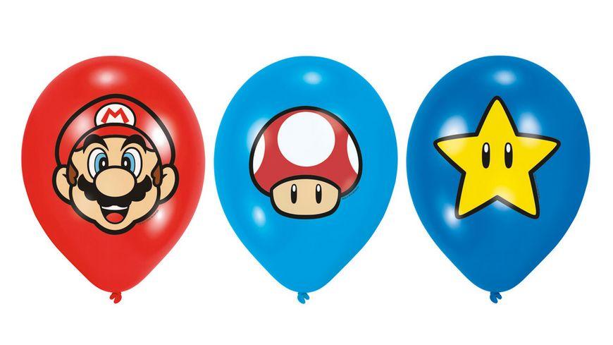 Amscan 6 Latex Ballons Super Mario Bros 27 5 cm