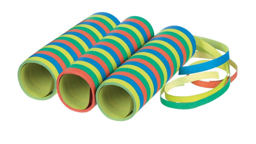 Amscan - 3 Luftschlangen Streifen Papier 0,7 x 400 cm