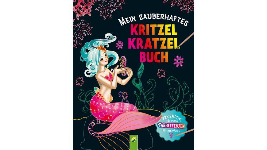 Mein zauberhaftes Kritzel Kratzel Buch Kratzmotive mit tollen Farbeffekten Mit Holz Stick